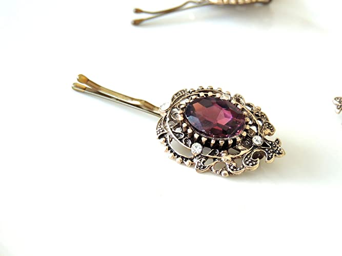 a4ee014ac Ancient Vintage Gold Purple Bridal Hair Pin, Hair Accessory,Jewelry ...