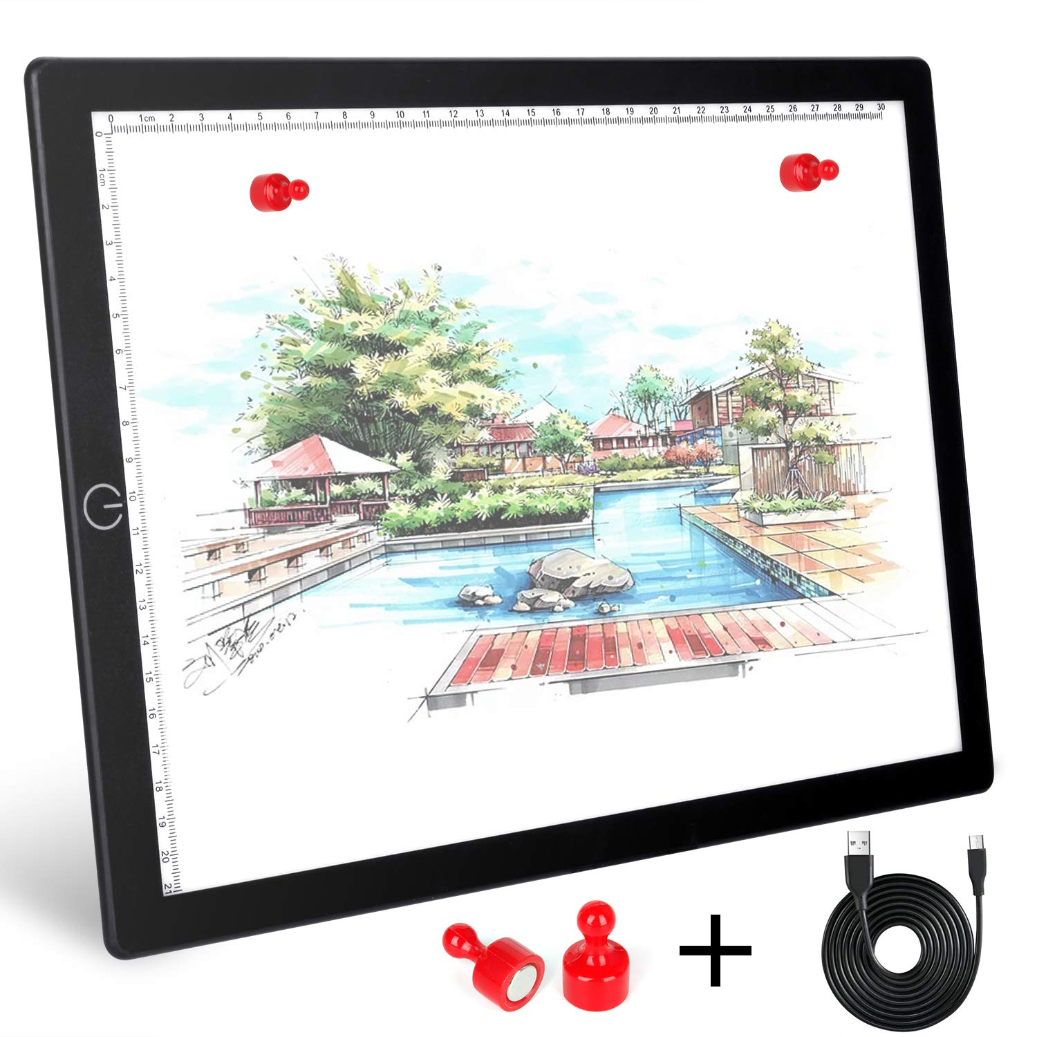 Magnetic A4 Light Box, LED Tracing Light Pad with Touch Button, Thin USB Powered Light Board with Adjustable Brightness for Tattoo Artists, Animation, Sketching, Stenciling, X-Ray Viewing by LIFUN