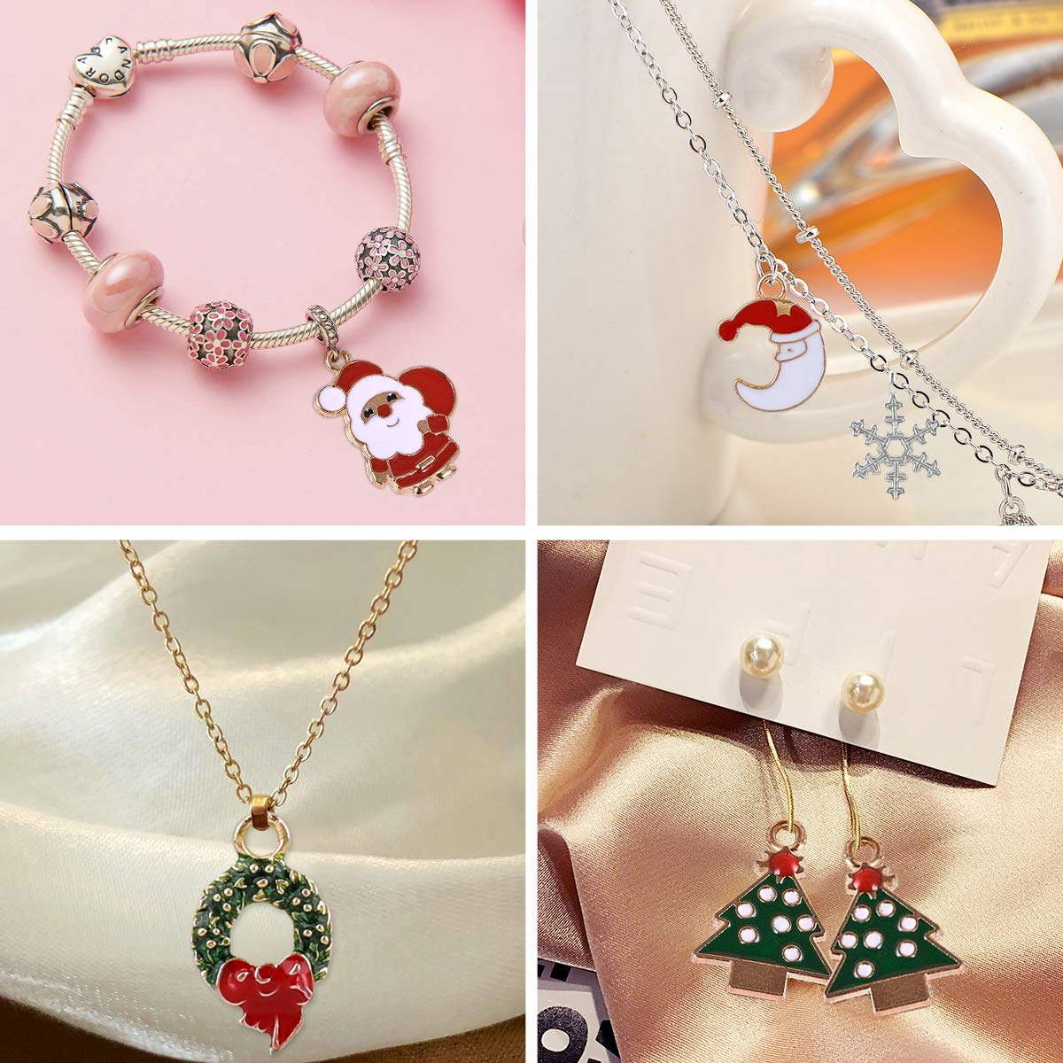 PHOGARY 50Pcs Christmas Charms for Jewelry Making Gold Plated Enamel Xmas Pendants for Necklace Bracelet DIY Crafting Bag Sweat Cloth Decoration