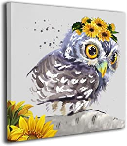 CONLIN Canvas Prints Wall Art Owl Sunflower Paintings Decor Small Canvases Wooden Framed Artwork for Home Office Living Room Bedroom Kitchen Decorations Gifts Ready to Hang (12x12 Inch)
