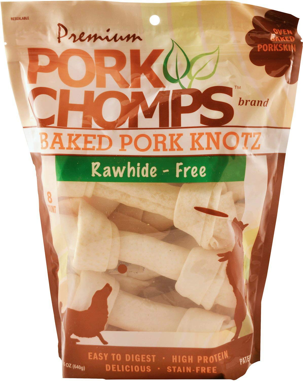 SCOTT PET PRODUCTS, INC. Premium Pork Chomps Baked Knotz Dog Chew 6In – 7In