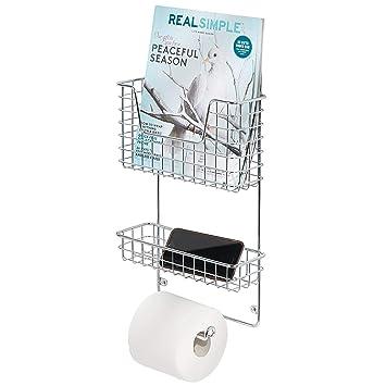 MetroDecor mDesign Organizador de baño – Estantería de Metal con portarrollos de baño y revistero de
