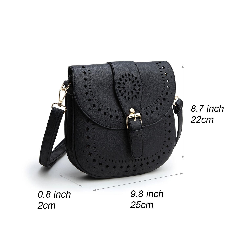 Forestfish Ladie's PU Leather Vintage Hollow Bag Crossbdy Bag Shoulder Bag (Black) by Forestfish (Image #4)
