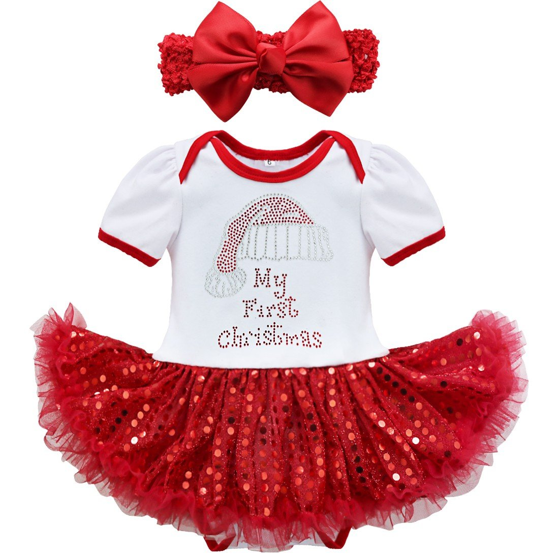 Amazon.com: TiaoBug Baby Girls Sequins Santa Tutu Romper My First ...