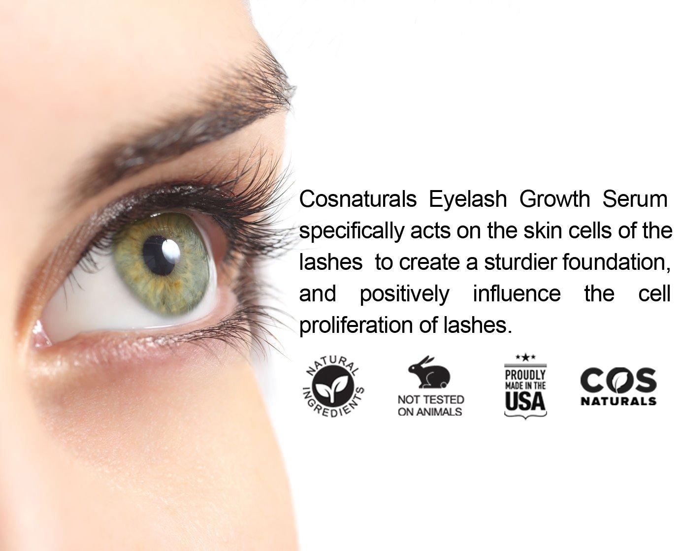 bf1b687acae Amazon.com: COS Naturals Eyelash Growth Serum PEPTIDE LASH Natural Regrowth  Plant Stem Cells Enhancing Treatment For Longer Fuller Eyelashes Thicker ...
