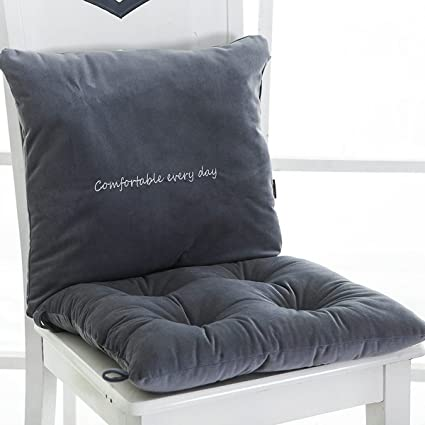 Nonslip Grip Chair Seat Cushions Lumbar Back Rest Supports Pillow With Tie  Backs Seating Pads Grey
