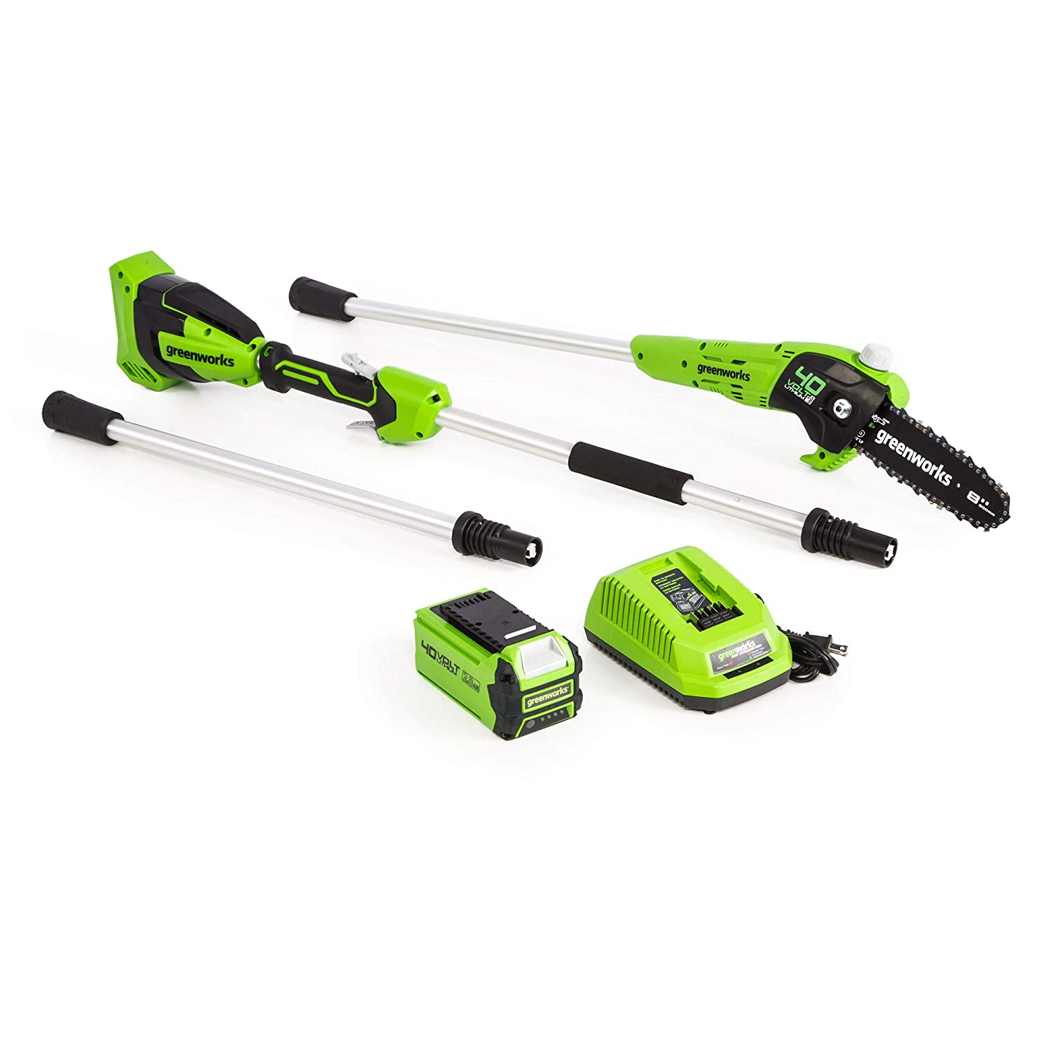 Greenworks 8-Inch 40V Cordless Pole Saw, 2Ah Battery, PS40L210