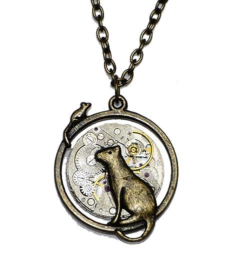Gato y ratón Steampunk reloj movimiento collar con colgante de cadena de bronce antiguo. Hecho a mano en Cornwall, Reino Unido. ...: Amazon.es: Joyería