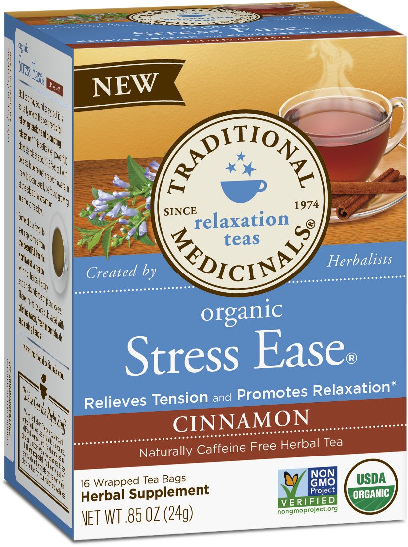 Traditional Medicinals Organic Stress Ease Cinnamon Relaxation Tea, 16 Tea Bags (Pack of 6)
