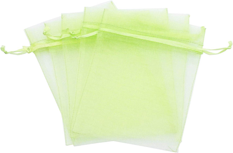 Evershine, 144Pcs Sheer Organza Pouch, Gift Wrap, Wedding Party favor gift bag. (Apple Green, 5