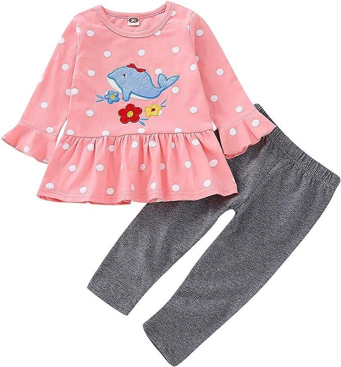 Puseky 2 unids/Set Baby Girl de Dibujos Animados de Ballena de impresión de Lunares Camisa con Volantes Tops + Pantalones Conjunto de Ropa (Color : Pink+Grey, Size : 4Y-5Y): Amazon.es: Ropa y