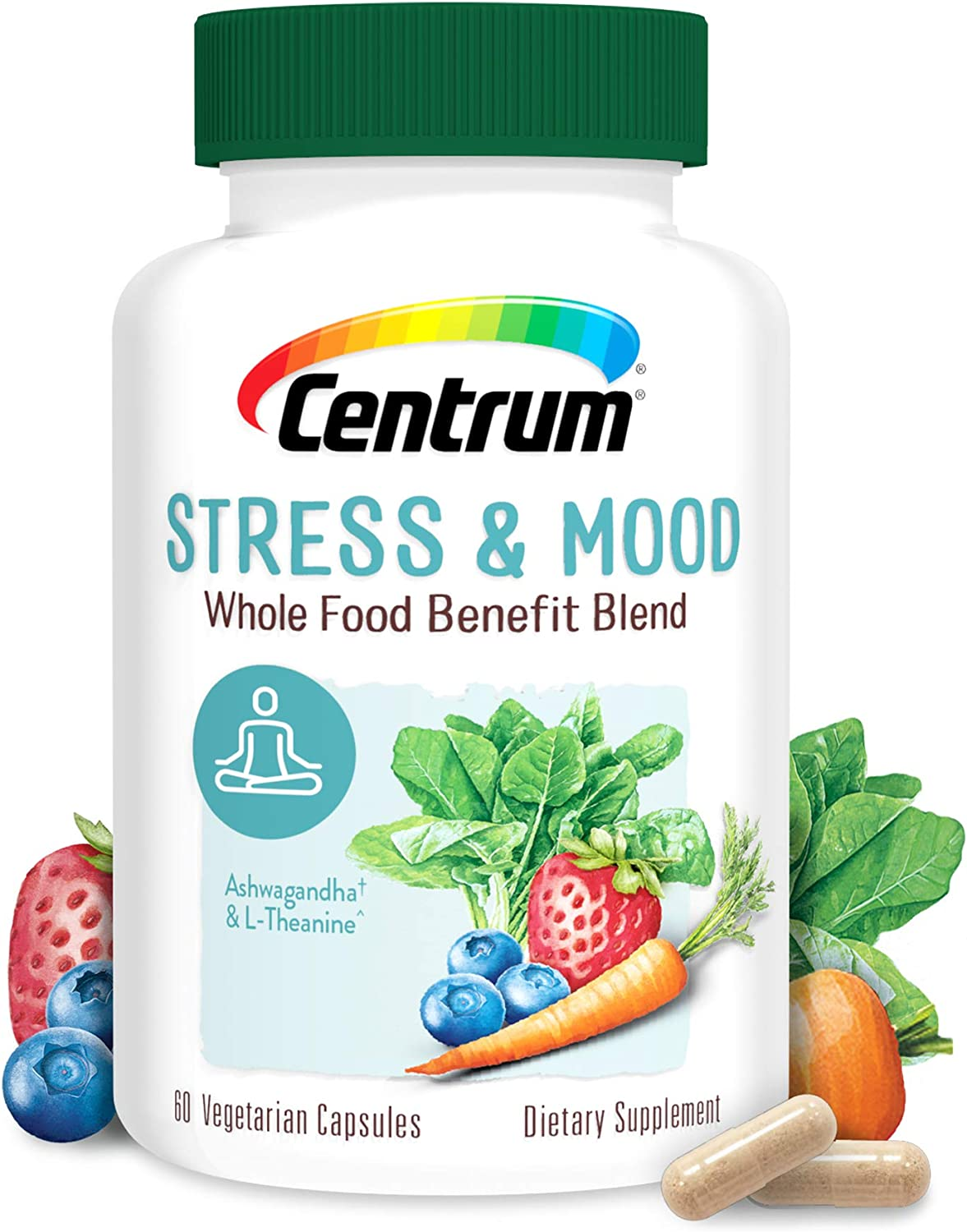 Centrum Stress and Mood, Organic Ashwagandha Root, Magnesium, Whole Food Supplement Supports Healthy Mood, 30 Day Supply (60 Capsules)