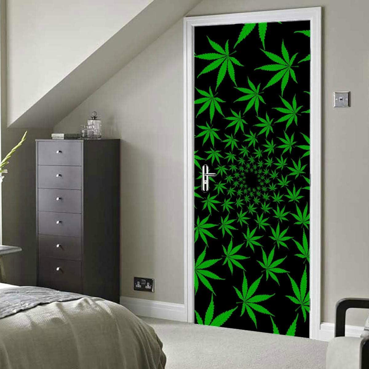 Hojas de marihuana verde Vector de cannabis Calcomanías autoadhesivas de vinilo extraíble para puertas Pegatinas para puertas 30x79 pulgadas (77x200cm) 2 piezas