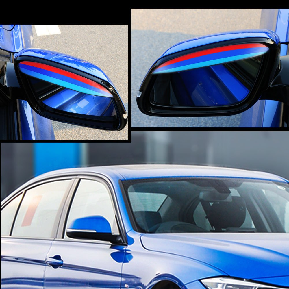 Tuqiang 3 Colores M Estilo Coche Espejo Retrovisor Lluvia Cejas Impermeable Protector Cubierta para E46 E90 E91 E92 E93 F30 F31 F34 F35 2 piezas