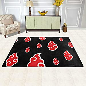 "Ultra Soft Area Rugs, 36""x24"" Non Slip Quick Drying, Anime Naruto Akatsuki Red Cloud Uchiha Welcome Yoga Mat Carpet for Study Room Kids Room Stairs Family Decor"