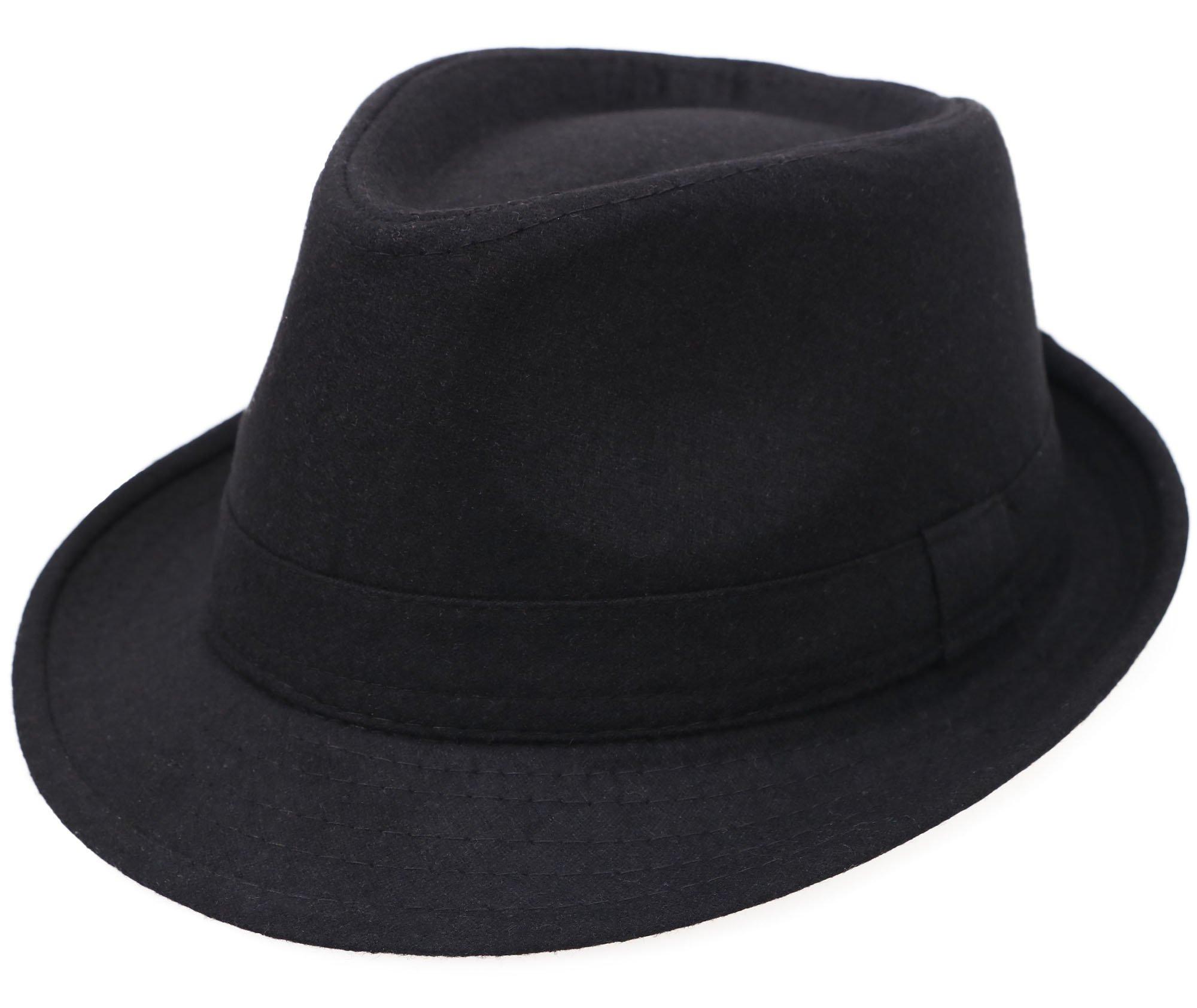Men / Women's Wool Blend Fedora Hat,Black