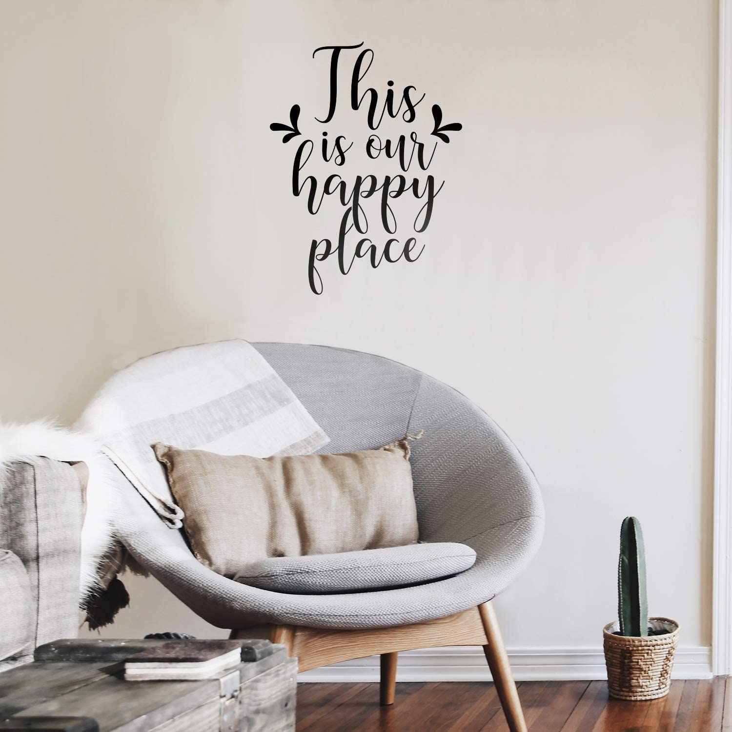 """Vinyl Wall Art Decal - This is Our Happy Place - 27"""" x 19"""" - Modern Cursive Love Quote for Couples Home Apartment Bedroom Living Room Dining Room Household Indoor Outdoor Decor"""