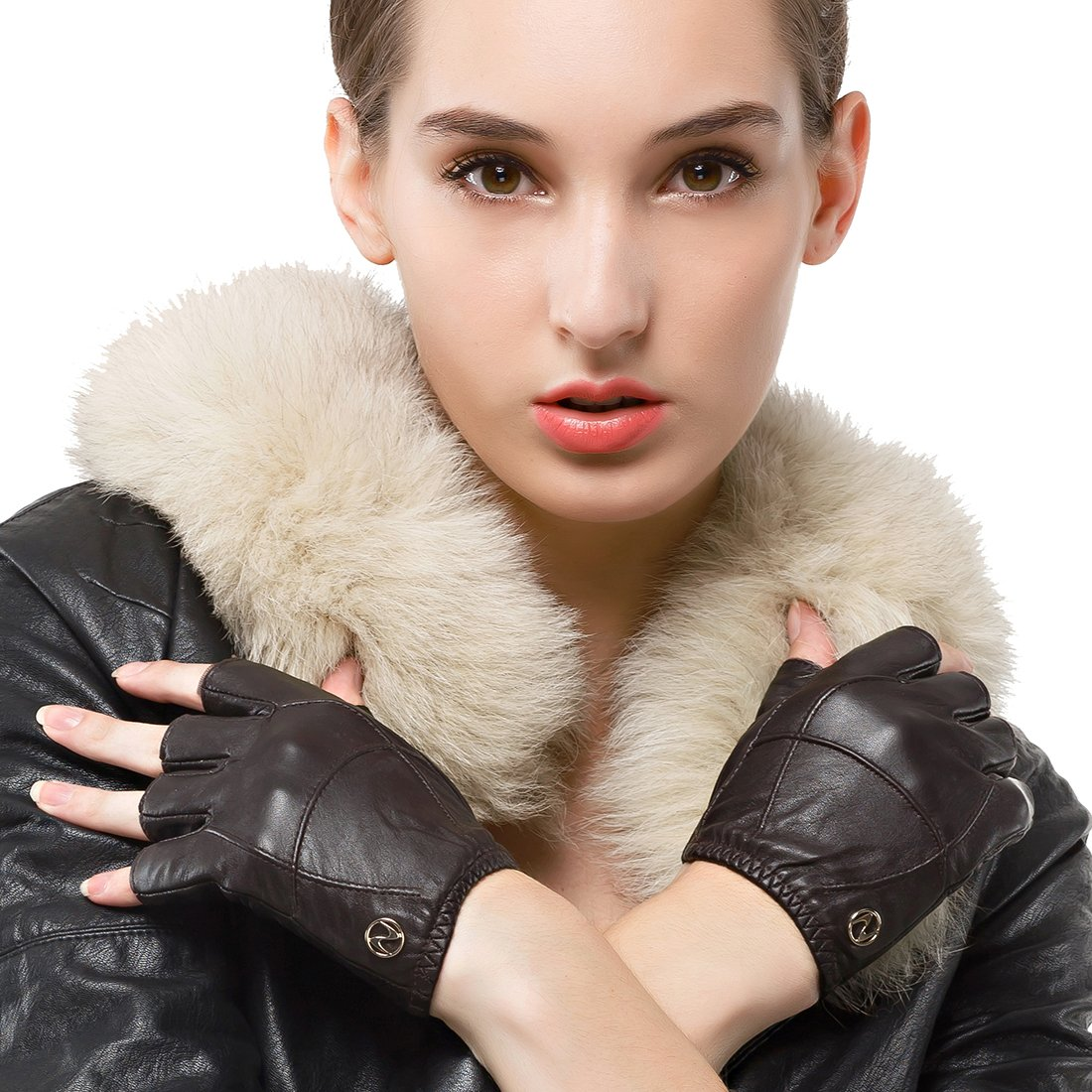 Nappaglo Women's Driving Leather Gloves Half Finger Fingerless Lambskin Leather Fitness Outdoor Shorty Unlined Gloves DBE215