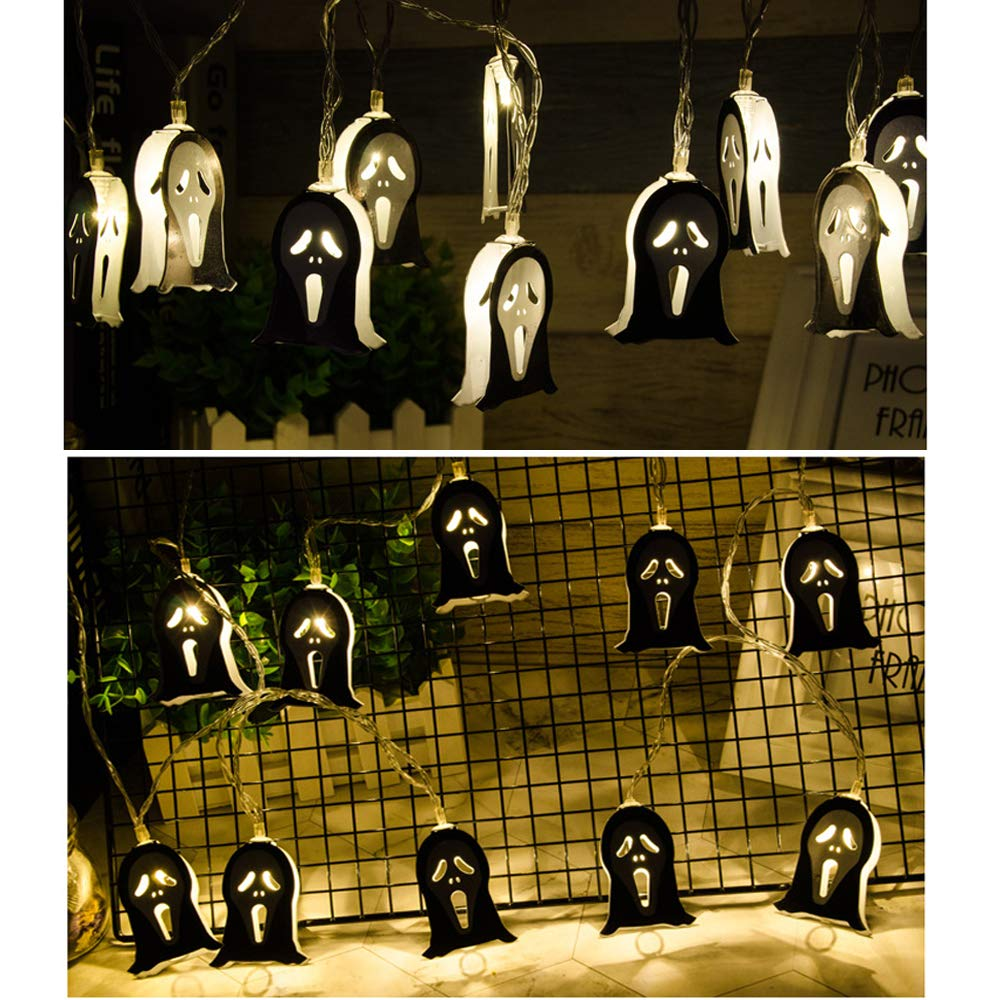 MIFAVOR Halloween Lights String Battery Operated 10 LEDs Ghost Light 6.56 ft for Indoor, Covered Outdoor, Cosplay, Parties, Mantle, Home