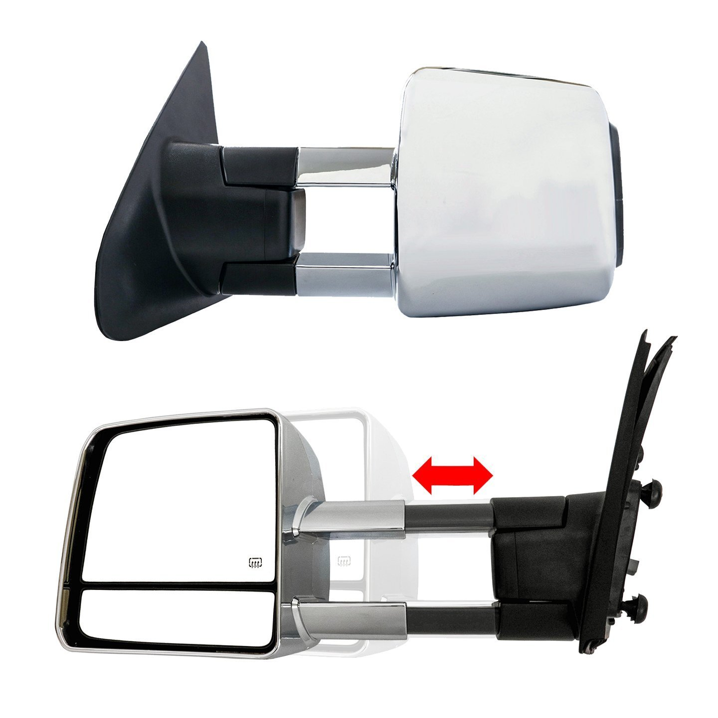 Tow Mirror Power Heated LED Signal Black Pair Set for 2007-2016 Toyota Tundra
