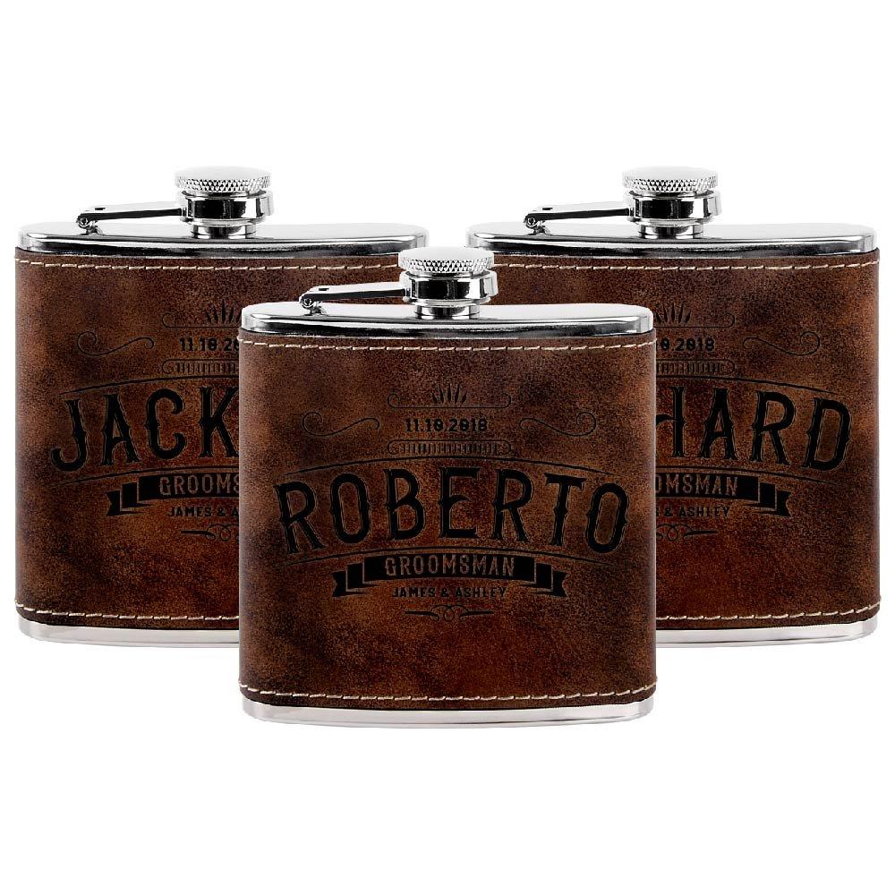 新しいブランド Personalized Groomsmen Flasks、Groomsmenプレゼント  6oz 6oz Leatherette PersonalizedのフラスコLiquor # 4 # Leatherette ブラウン 3 ラスティック(Rustic) B07CBN27SD, キタカタチョウ:5400b4ea --- a0267596.xsph.ru