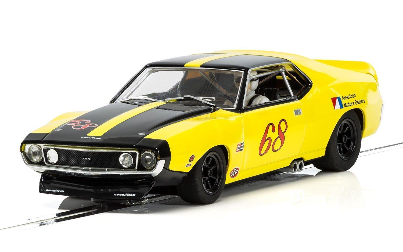 Scalextric C3921 AMC AMX Javelin-Roy Woods Racing 1971 Slot Car, Yellow, 1: 32 Scale