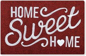 Red Welcome Door Mat Outdoor Indoor with Non Slip Rubber Backing Home Sweet Home Ultra Absorb Mud Easy Clean Front Door Heavy Duty Doormat