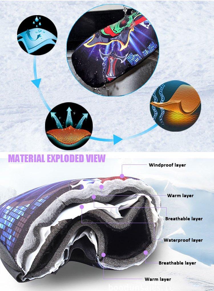 Tofern Moufle Gant Snowboard Ski Thermique Hipora /Étanche Paume Cuir PU R/ésistant Coupe-Vent Respirant Antid/érapant Femme Homme Enfant