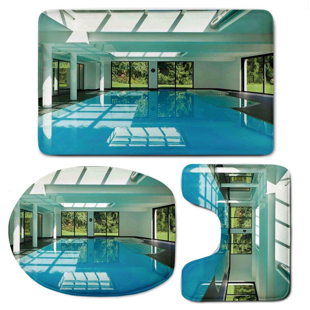 3 Piece Bath Mat Rug Set,House-Decor,Bathroom Non-Slip Floor Mat,Indoor-Swimming-Pool-of-a-Modern-House-with-Spa-Window-Residential-Interior,Pedestal Rug + Lid Toilet Cover + Bath Mat,