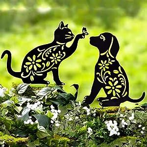 XALO 2 Pcs Metal Garden Decor, Cat&Dog Silhouette Garden Stakes Family Yard Art Lawn Floor Decoration Ornament, Animal Shape Decor for Outdoor Backyard