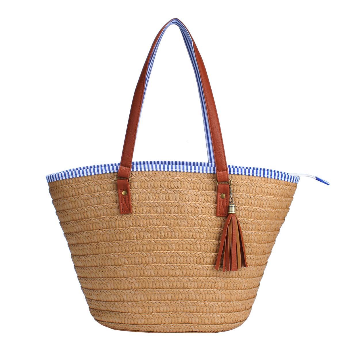 Sornean Straw Beach Bag Handbags Shoulder Bag Tote Cotton Lining PU Leather Handle-Eco Friendly