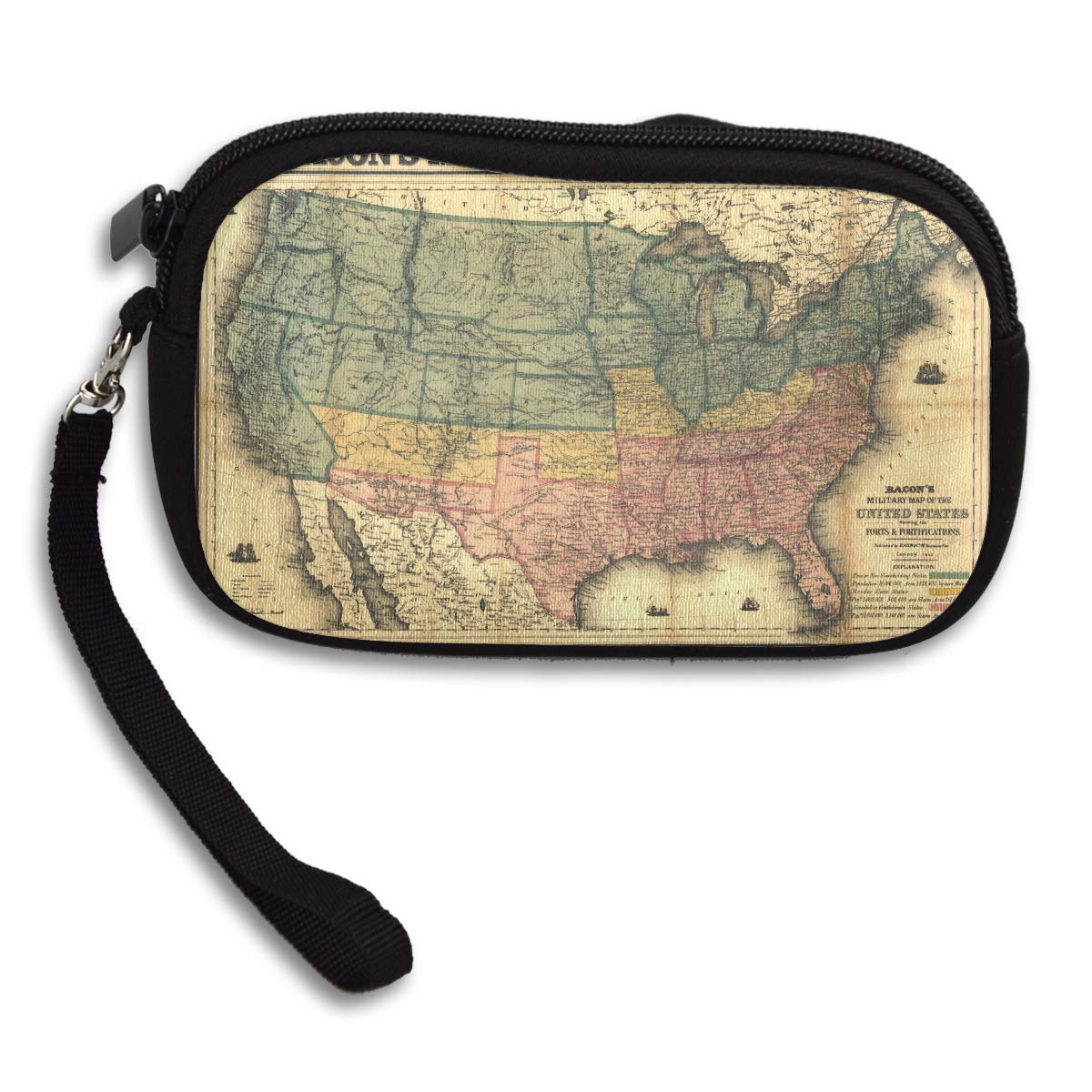 Vintage Usa Map Deluxe Printing Small Purse Portable Receiving Bag