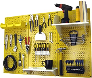 product image for Pegboard Organizer Wall Control 4 ft. Metal Pegboard Standard Tool Storage Kit with Yellow Toolboard and White Accessories