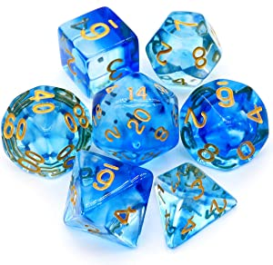 Haxtec 7PCS DND Dice Set Polyhedral D&D Dice of D20 D12 D10 D8 D6 D4 for Dungeons and Dragons TTRPG Games (Dragon Glass-Eternal Sea)