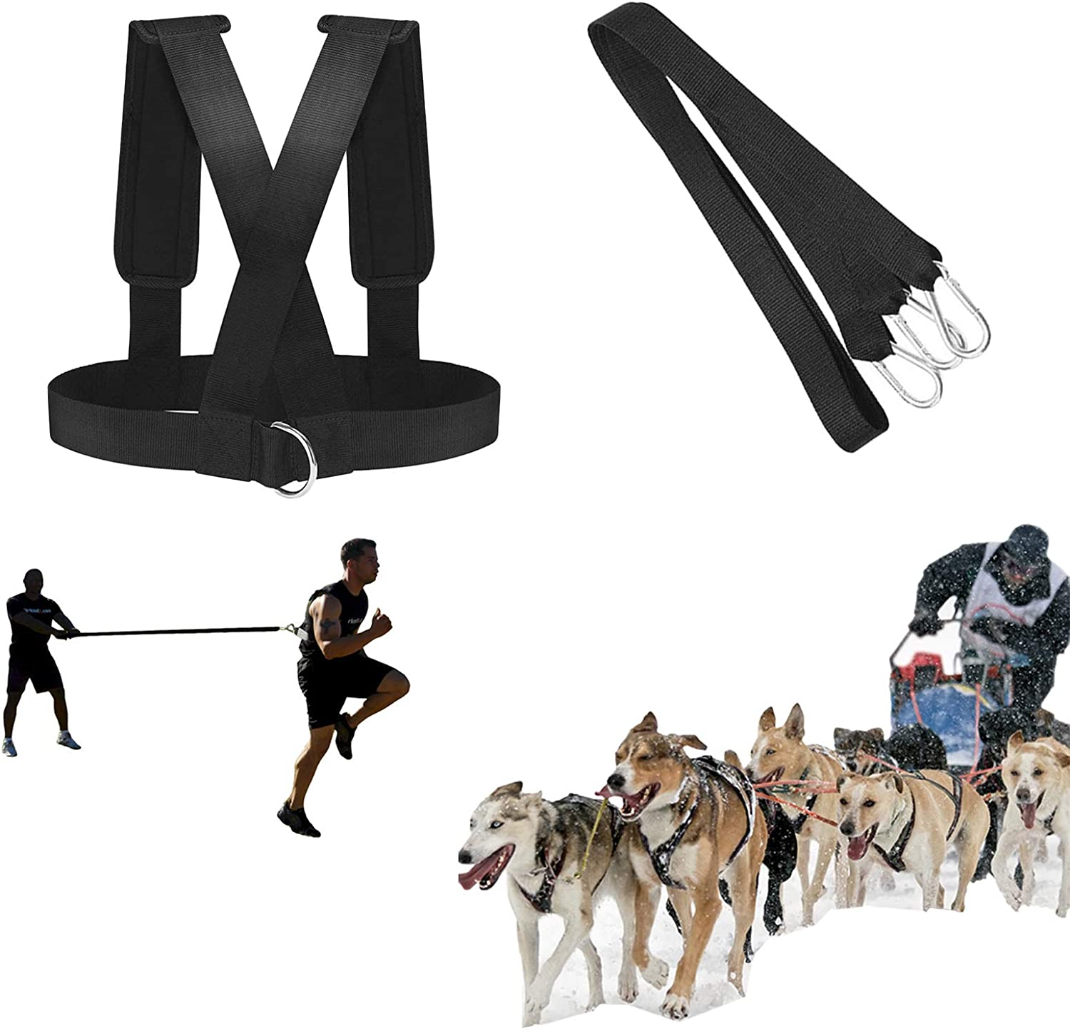 ROLLMOSS Prowler Sled, Adjustable Push Sled and Workout Sled, Weight Sleds for Training and Speed Sled, Sled Harness Fitness Resistance Training Workout Padded Shoulder Strap (Black)