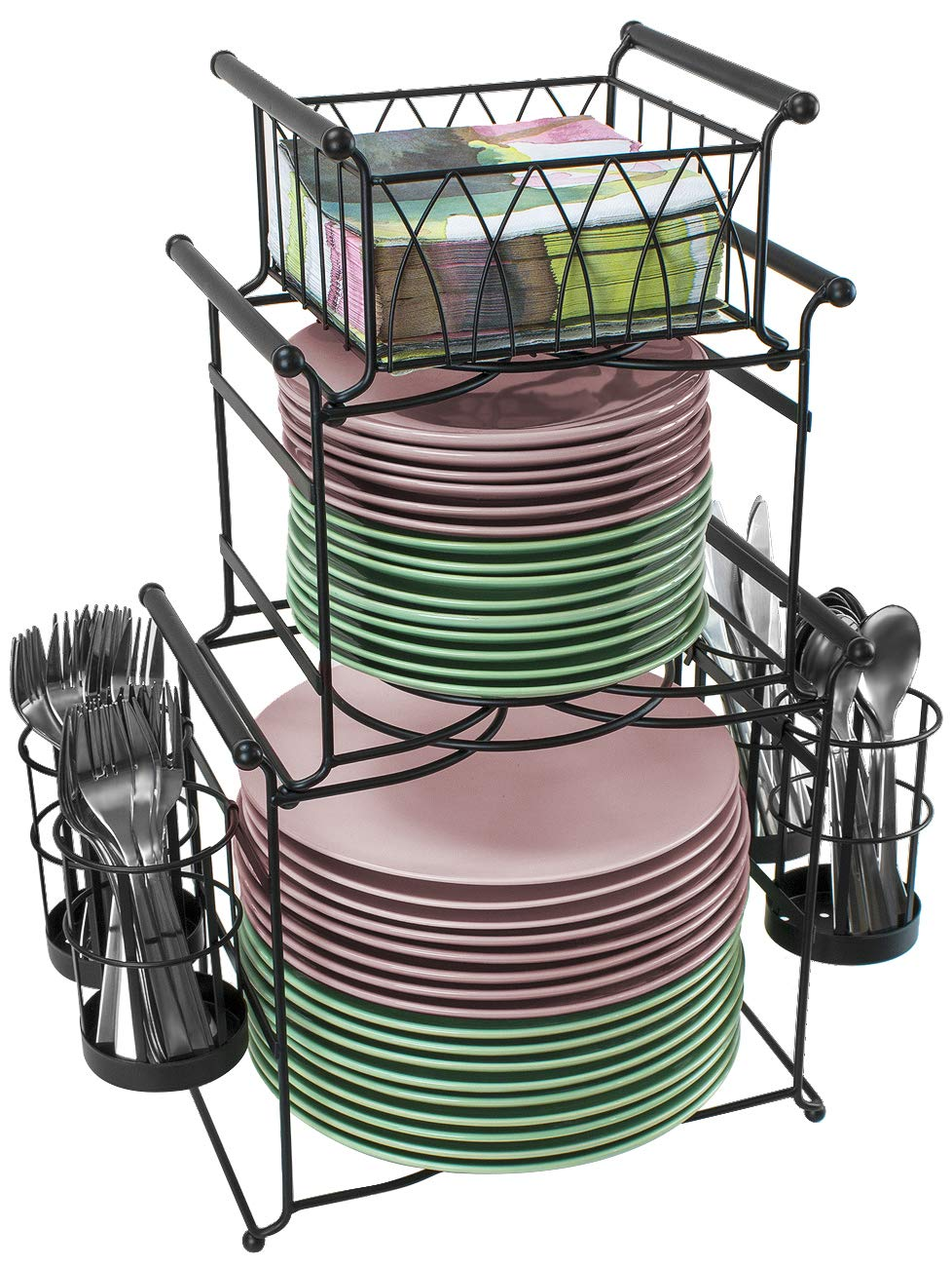 Sorbus Buffet Caddy — 7-Piece Stackable Set Includes Plate, Napkin, and Silverware Holder, 3-Tier Detachable Tabletop Organizer — Ideal for Kitchen, Dining, Entertaining, Parties, Picnics, (Black)