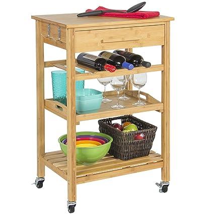 Amazoncom Rolling Wood Kitchen Storage Cart Rack With Drawer
