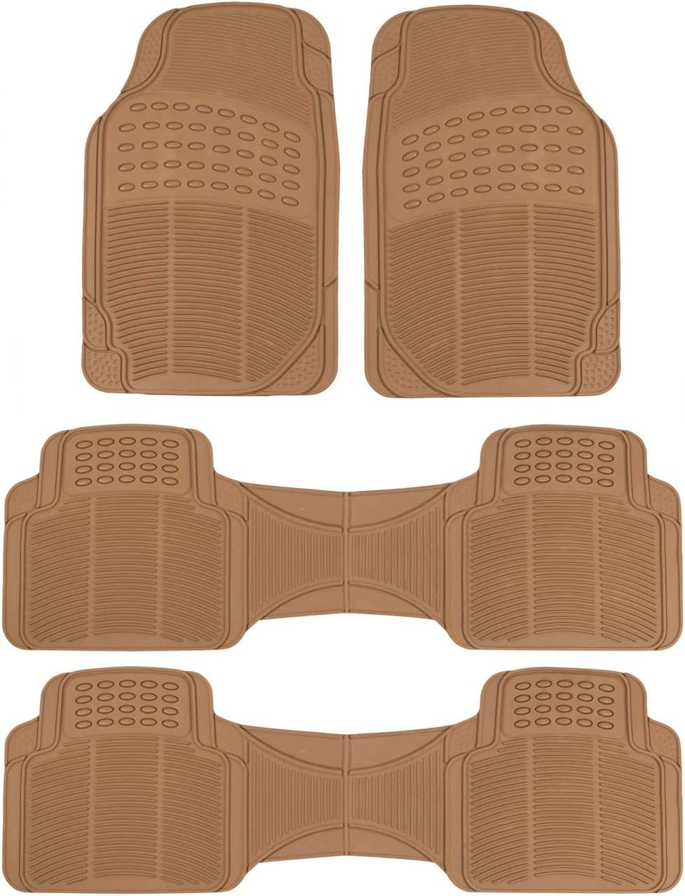 BDK 3Row ProLiner Original Heavy Duty 4pc Front & Rear Rubber Floor Mats for Car SUV Van (for 3 Row Vehicles) - All Weather Protection Universal Fit (Gray)