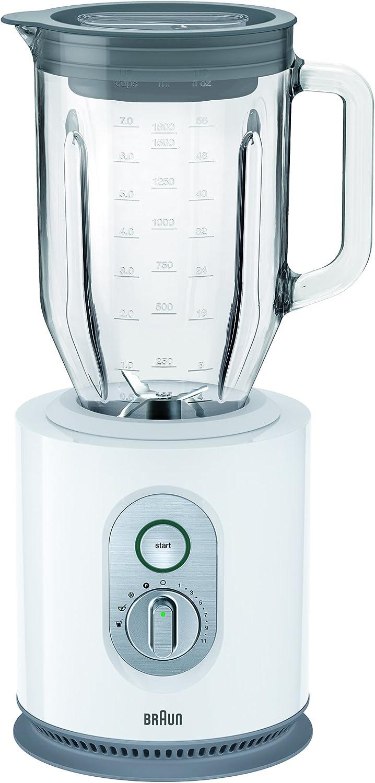 Braun JB5160WH - Batidora de vaso, 1000 w, jarra de cristal 2 l, control de velocidad electrónico, blanco