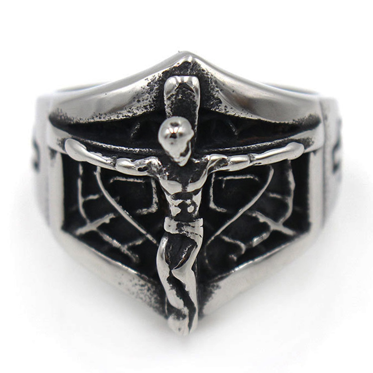 LILILEO Jewelry Stainless Steel Men's Rings Retro Spider Web Jesus Cross Religious Ring by LILILEO