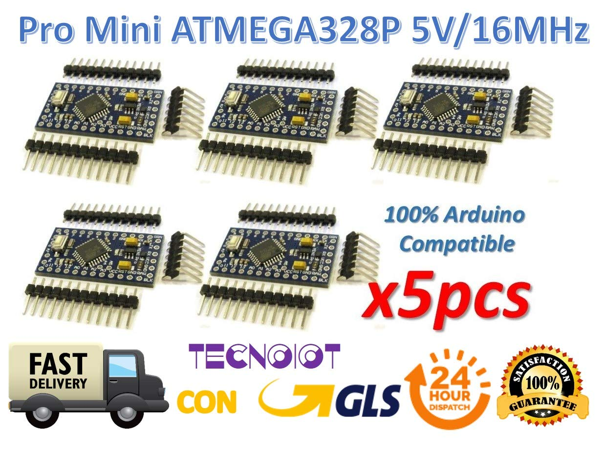 5pcs Pro Mini Atmega328p Au 5v 16mhz Module With Bootloader Pin Microcontroller Circuit Board For Arduino Header Bootloadered