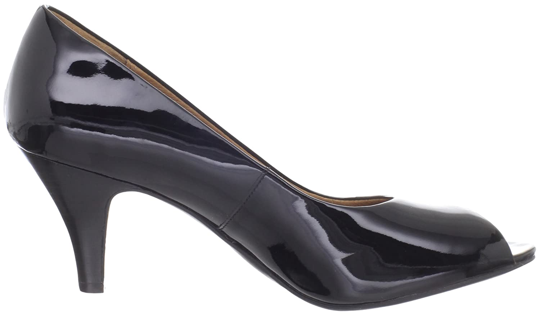 Amazon.com | Clarks Women\u0027s Cynthia Avant Peep-Toe Pump, Black Patent, 7 M  US | Pumps