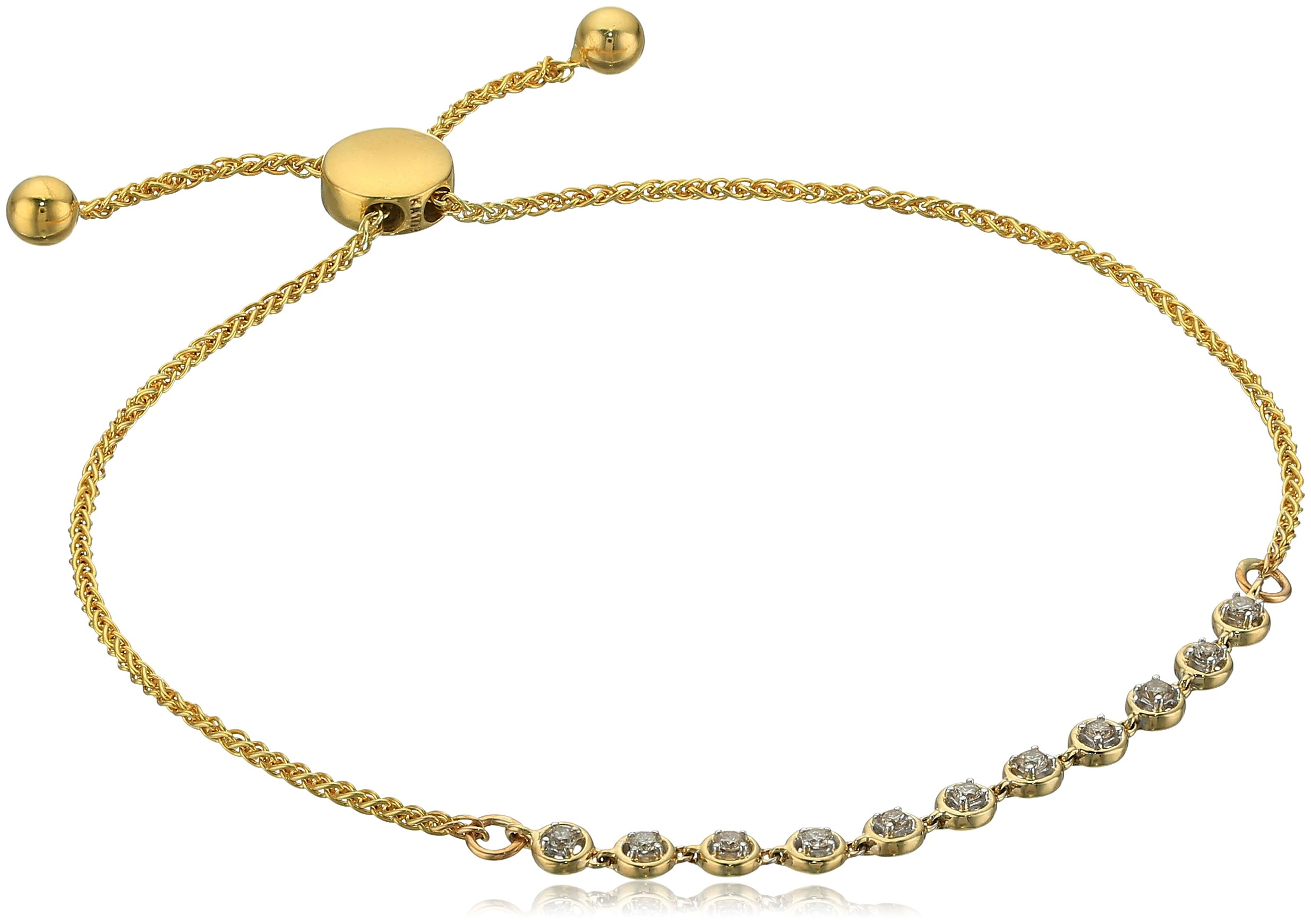 10k Yellow Gold Diamond Bracelet, Size 7.5 Inches by Amazon Collection
