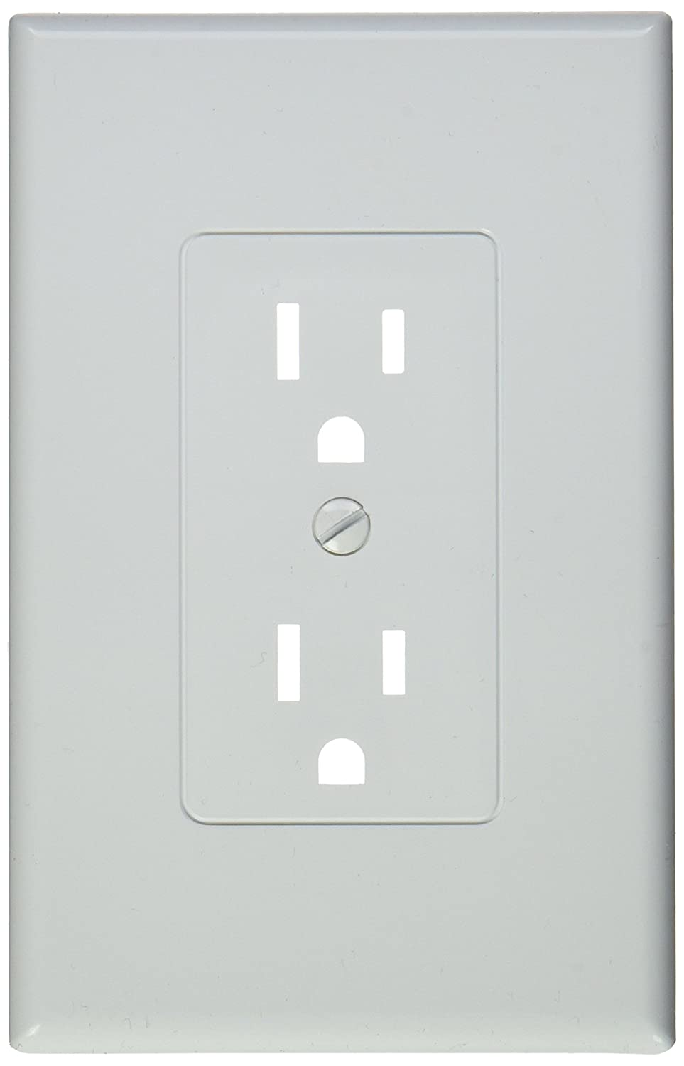 TayMac MW2500W Decorator Cover Nonmetallic Wallplate, One Grounded Duplex, Single Gang, White Smooth - Pack of 5