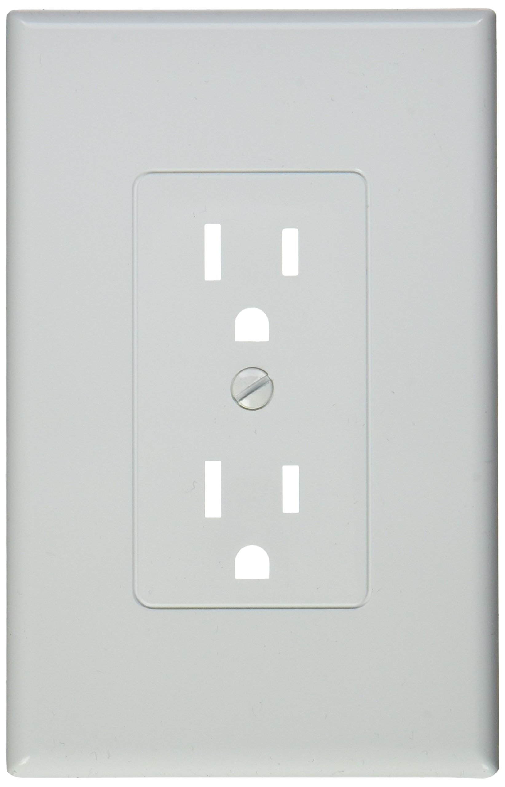 TayMac MW2500W Single-Gang Wallplate Non-Metallic Decorator Cover One Grounded Duplex, Pack of 5, White Smooth by TayMac