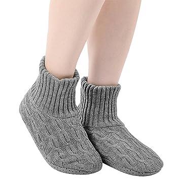 78e0ad4442939f レディース靴下 ルームソックス スリッパ 室内履き ニット 暖かい もこもこ 寒気防止 両足温める 極厚地