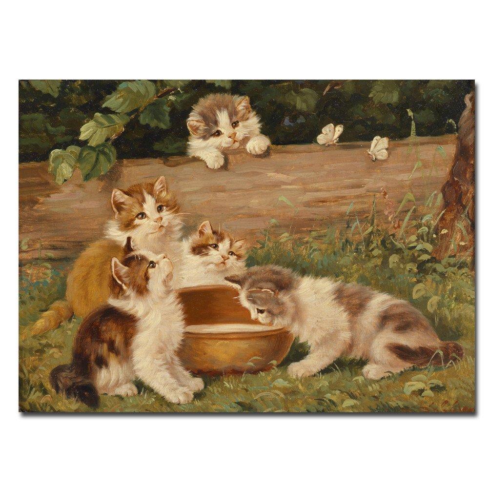 lotuslife arte lienzo de la serie Animal Impreso pinturas Lovely gatos leche pintura al óleo obras de arte para decoración de la sala de estar, ...