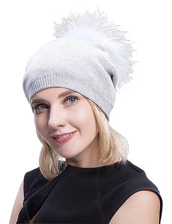 2e4b1be684a MS.MinShu Cashmere Hats Pompom Beanies Fur Hat Female Warm Caps Fur Pompom  Bobble Hat