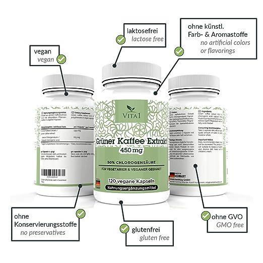 Cápsulas de extracto de Café Verde 450mg de VITA1 • 90 cápsulas (un mes de suministro) • 10:1 extracto de 18 aminoácidos, potasio, calcio, magnesio y ...