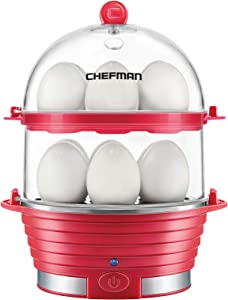 Chefman Electric Egg Cooker Boiler Rapid Poacher, Food & Vegetable Steamer, Quickly Makes Up To 12, Hard or Soft Boiled Poaching and Omelet Trays Included, Ready Signal, BPA-Free, Red